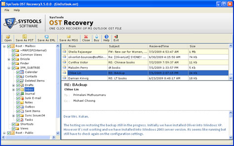 Transfer OST Files into Outlook 2007